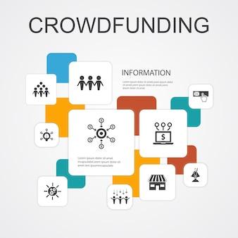 Crowdfunding infografika 10 linii ikon szablon.startup, uruchomienie produktu, platforma finansowania, proste ikony społeczności