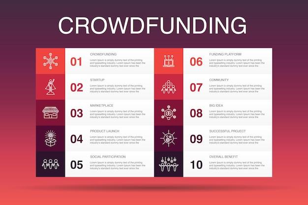 Crowdfunding infografika 10 szablon opcji. startup, wprowadzenie produktu, platforma finansowania, proste ikony społeczności
