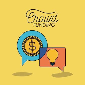 Crowdfunding plakat z monetą i żarówką