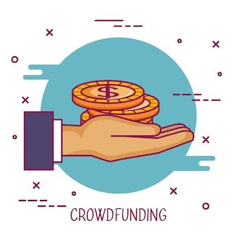 Crowdfunding ręka trzyma pieniądze monety darowiznę