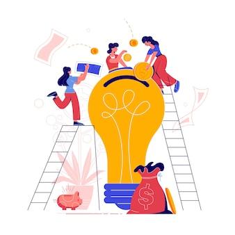 Crowdfunding tłum pozyskuje płaską kompozycję z kreatywnym pomysłem na zbiórkę pieniędzy na start żarówka ilustracja skarbonki