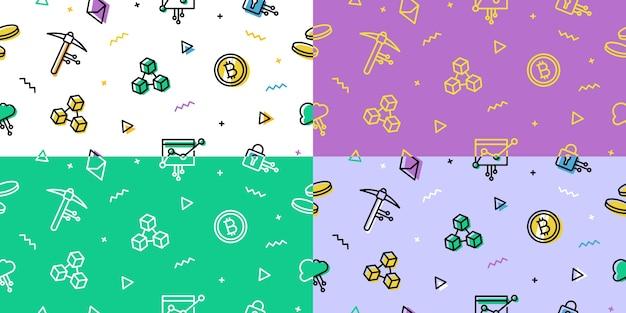 Crypto blockchain bezszwowe tło wzór