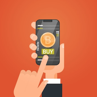 Crypto currency technology bitcoin exchange concept ręka trzyma smart phone modern web money buy
