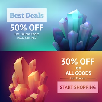 Crystal mineral banners