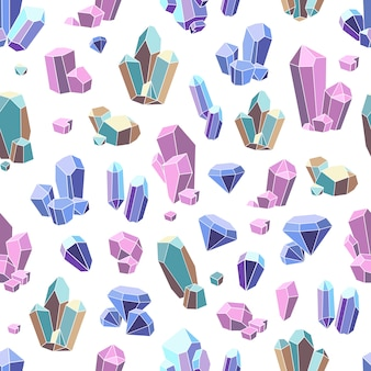 Crystal minerals seamless pattern