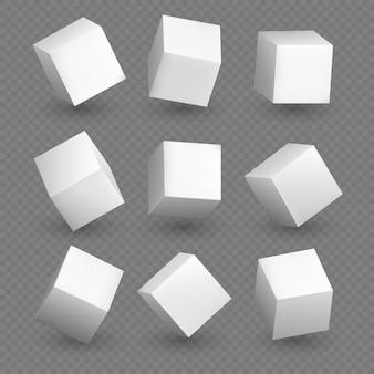 Cube modele 3d w perspektywie. realistyczne białe puste kostki z cieniami na białym tle