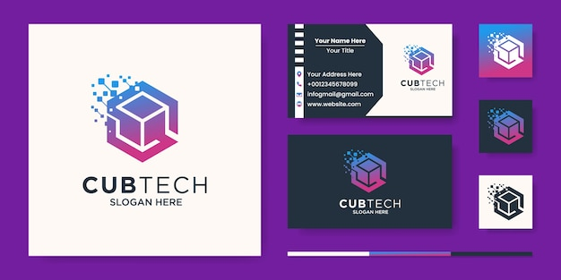 Cube tech logo, sześciokątny piksel z abstrakcją litery s.