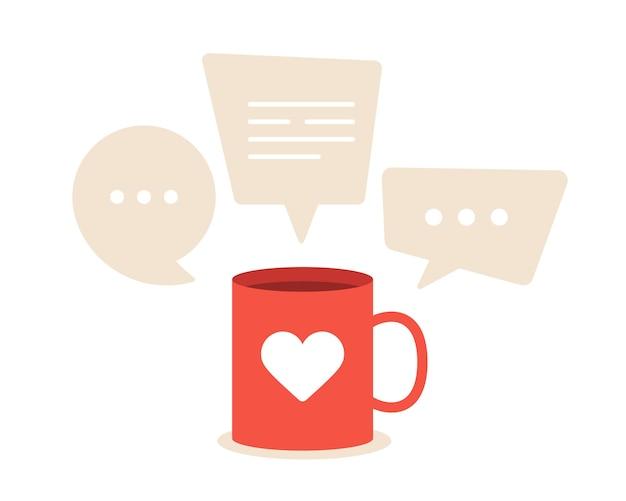 Cudowne rozmowy o miłości. czerwony kubek z bąbelkami serca i mowy