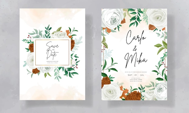 Cudowne zaproszenie na ślub z zielonymi liśćmi białej róży i kwiatem sosny