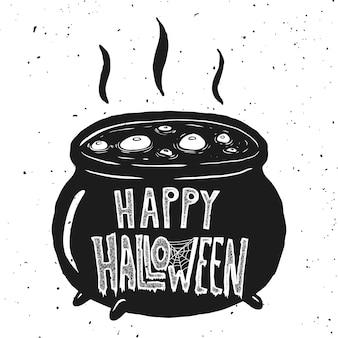Cukierek albo psikus. czarownica czajnika ilustracja na białym tle. element plakatu, karty, zaproszenia. ilustracja