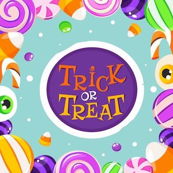 Cukierek albo psikus. halloweenowe słodycze i cukierki.