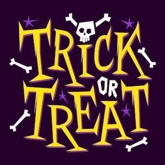Cukierek albo psikus. happy halloween plakat, karta z pozdrow, druk lub transparent z ręcznie rysowane napis, szkielet, kości i czaszki.