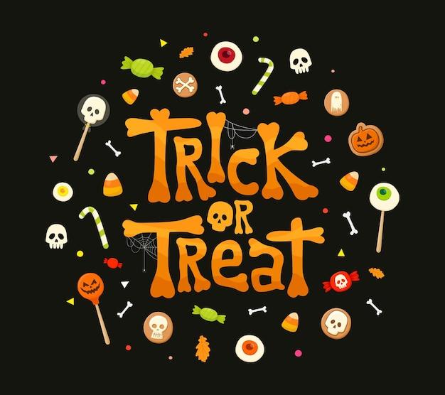 Cukierek albo psikus kaligrafia litery tradycyjne słodycze cukierki na wakacje