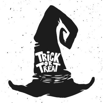 Cukierek albo psikus. kapelusz czarownicy z napisem. motyw halloween. element plakatu, karty z pozdrowieniami,. ilustracja