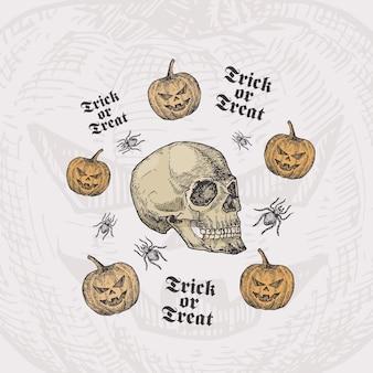 Cukierek albo psikus szablon karty halloween z czaszką, dyniami i pająkami