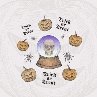 Cukierek albo psikus szablon karty halloween z kryształową kulą wróżki, dyniami i pająkami