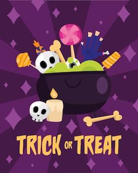 Cukierek albo psikus we wnętrzu miski czarownicy, przerażający motyw na halloween