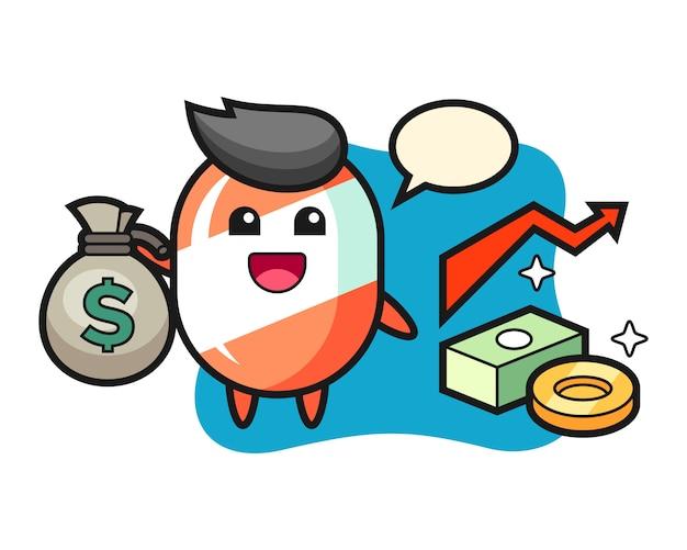 Cukierek ilustracja kreskówka trzymając worek pieniędzy