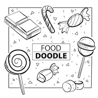 Cukierek karmowy doodle symbol i przedmiot