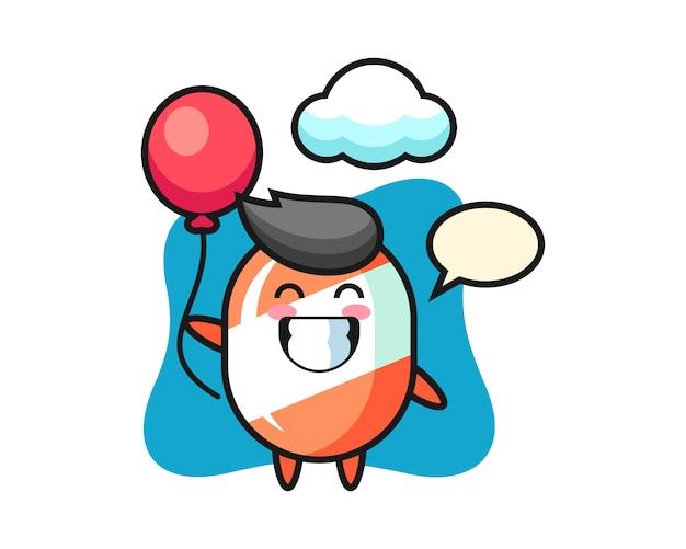 Cukierek maskotka ilustracja bawi się balonem