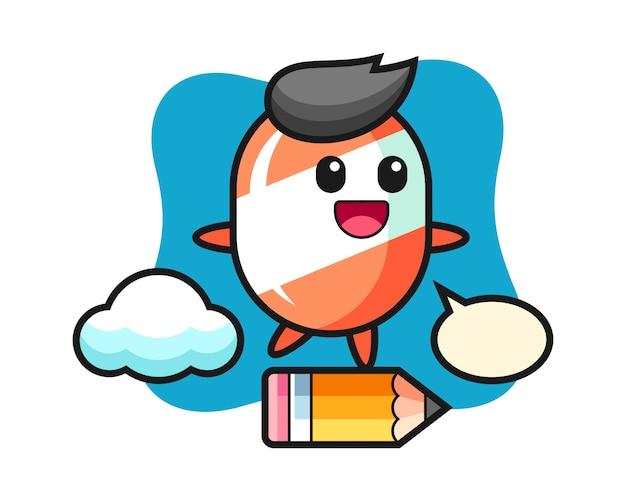 Cukierek maskotka ilustracja jedzie na olbrzymim ołówku