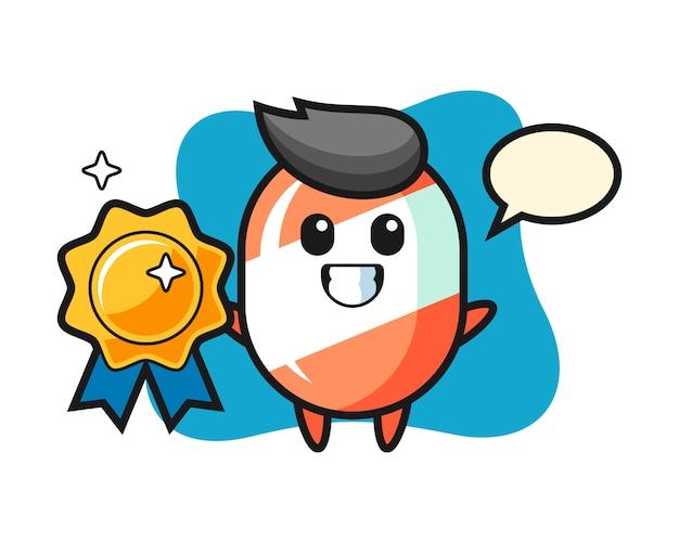 Cukierek maskotka ilustracja trzyma złotą odznakę