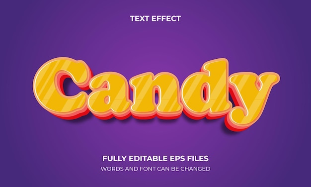 Cukierki 3d efekt tekstowy wektor styl