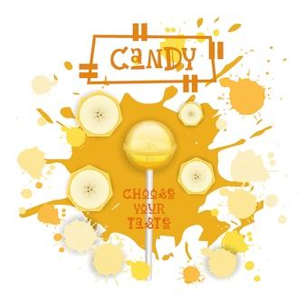 Cukierki banan lolly deser kolorowe ikony wybierz swój smak cafe poster