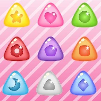 Cukierki blokujące trójkąt puzzle błyszczące galaretki