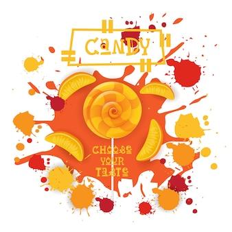 Cukierki brzoskwinia lolly deser kolorowa ikona wybierz twój smak cafe plakat