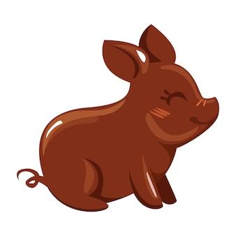 Cukierki czekoladowe w postaci świni. wektor w stylu cartoon.