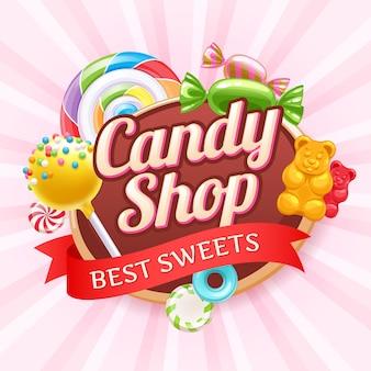 Cukierki i słodycze kolorowe tło.