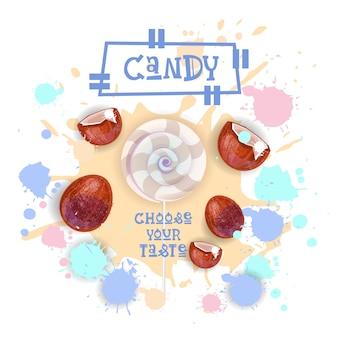 Cukierki kokosowe lolly deser kolorowe ikona wybierz twój smak cafe plakat