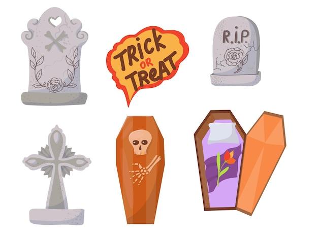 Cukierki, kostiumy, magiczne i przerażające przedmioty. duży zestaw elementów na obchody halloween. ilustracja wektorowa na białym tle.