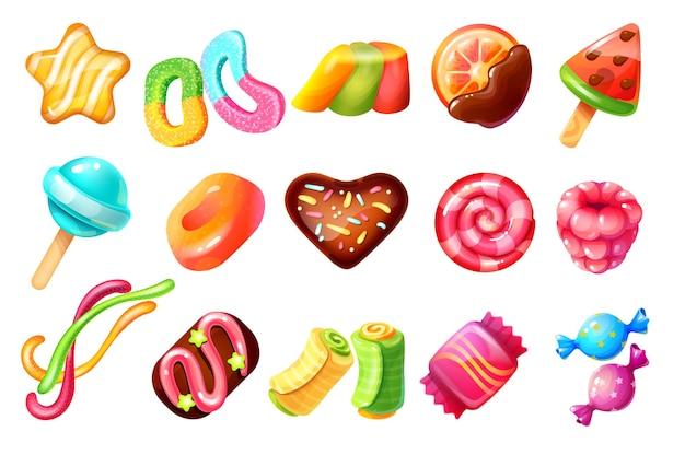 Cukierki kreskówka. słodycze czekoladowe i desery karmelowe, cukierki z lasek i ciastka. wektor ilustracja ciasteczka i galaretki zestaw cukierków
