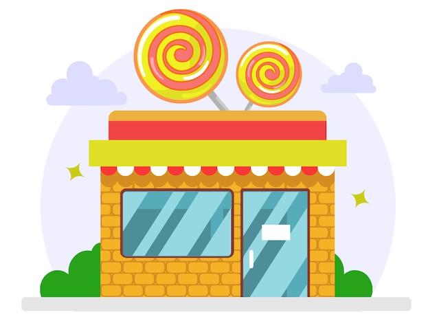 Cukierki online kup płaska ilustracja
