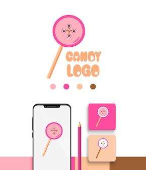 Cukierki przycisk zabawna kolekcja szablonów logo