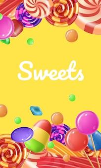Cukierki różne smaki i kolory. ilustracja wektorowa. kolorowy zestaw karmelowy. lollipop różne kształty.