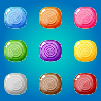 Cukierki ustawić 9 kolorów ikon dla gier logicznych.