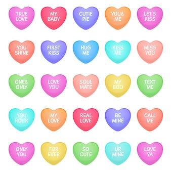 Cukierki w kształcie serca. śliczne walentynkowe kształty serca cukierków z napisami miłosnymi, słodycze z wiadomościami miłosnymi do komunikacji romantycznej. ikony