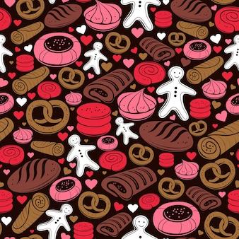 Cukierki wzór. zestaw ikon słodkiej piekarni