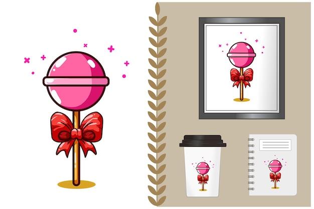 Cukierki z ilustracja kreskówka wstążka