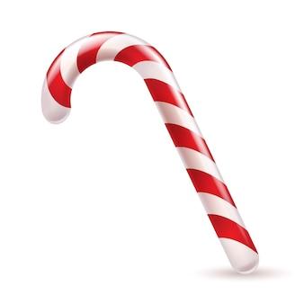 Cukierkowa laska z czerwonymi i białymi paskami. świąteczna słodka uczta.