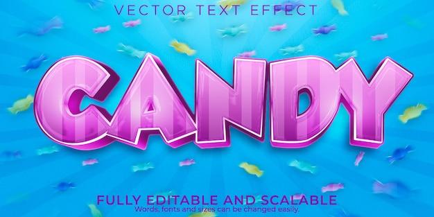 Cukierkowy efekt tekstowy edytowalny słodki i kolorowy styl tekstu