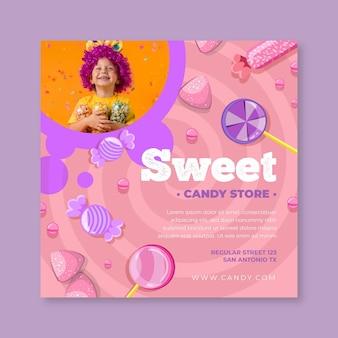 Cukierkowy kwadratowy szablon ulotki z dzieckiem