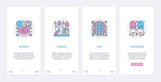 Cukiernia cukiernia fastfood menu ux ui onboarding zestaw ekranów strony aplikacji mobilnej