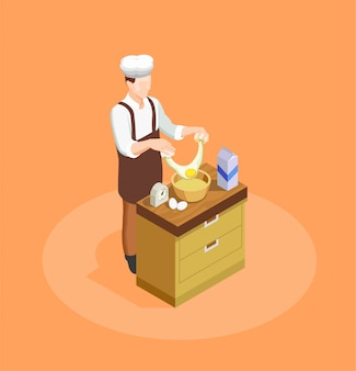 Cukiernia i piekarnia ilustracja szefa kuchni