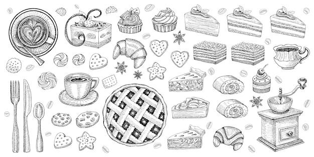 Cukiernicze wyroby cukiernicze desery kolekcja przedmiotów