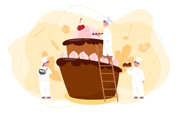 Cukiernik. profesjonalny kucharz cukiernik. słodki baker do gotowania ciasta na wakacje, babeczka, ciastko czekoladowe. ilustracja na białym tle płaski wektor