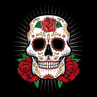 Cukrowa czaszka z różanym logo